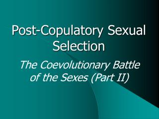 Post-Copulatory Sexual Selection