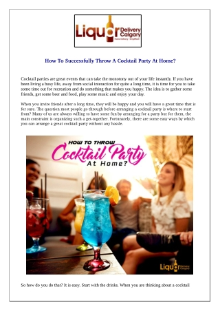 How To Successfully Throw A Cocktail Party At Home?