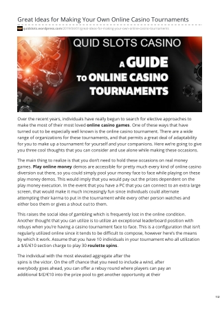 Great Ideas for Making Your Own Online Casino Tournaments