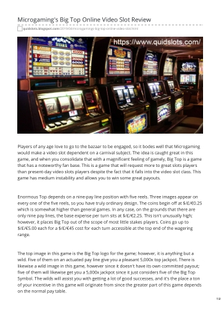 Microgaming's Big Top Online Video Slot Review