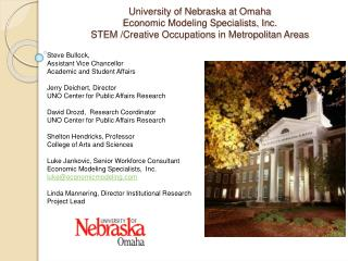 University of Nebraska at Omaha Economic Modeling Specialists, Inc.  STEM /Creative Occupations in Metropolitan Areas