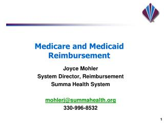Medicare and Medicaid Reimbursement