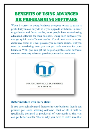 Benefits of Using Advanced HR Programming Software