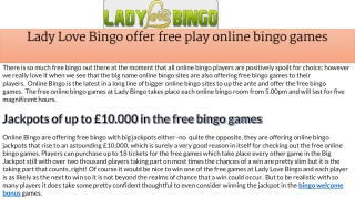 Lady Love Bingo offer free play online bingo games