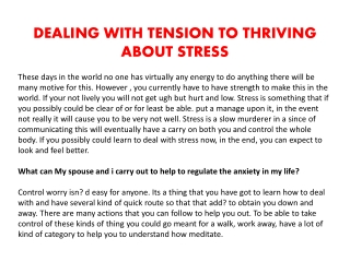 DEALING WITH TENSION TO THRIVING ABOUT STRESS