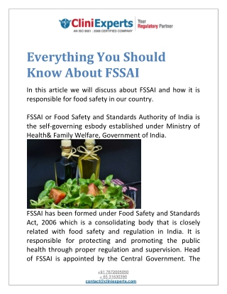 Everything You Should Know About FSSAI