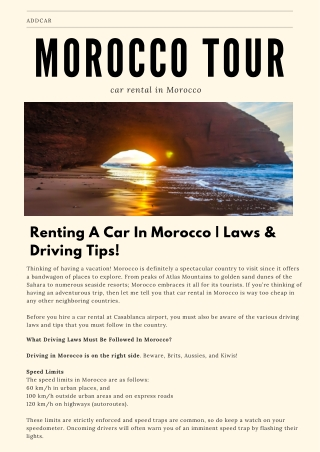 addCar: Renting A Car In Morocco Laws & Driving Tips