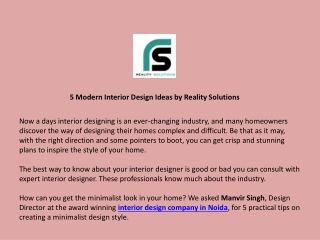 5 Modern Interior Design Ideas by Reality Solutions