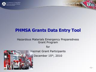 PHMSA Grants Data Entry Tool