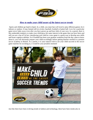 How to make your child aware of the latest soccer trends
