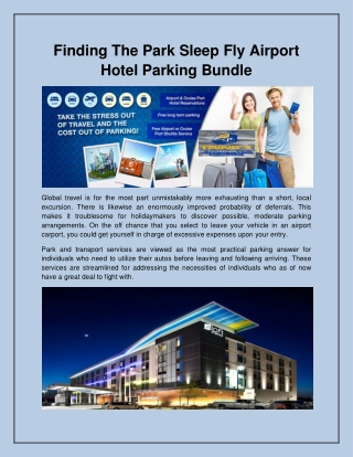 Finding The Park Sleep Fly Airport Hotel Parking Bundle