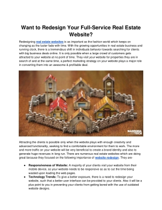 Want to Redesign Your Full-Service Real Estate Website?