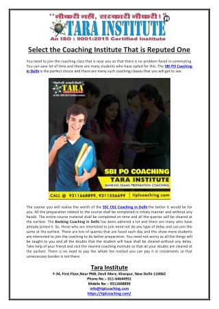 Select the Coaching Institute That is Reputed One