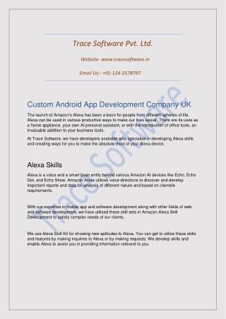 Custom Android App Development Company UK-Trace