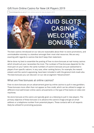 Gift from Online Casino for New UK Players 2019