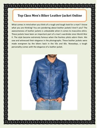 Top Class Men's Biker Leather Jacket Online