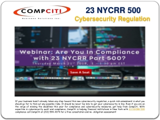 23 NYCRR Part 500 Cybersecurity