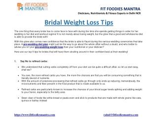 Bridal Weight Loss Tips