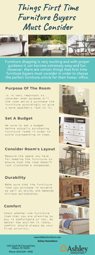 Things First Time Furniture Buyers Must Consider