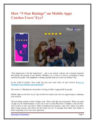 """How """"5 Star Ratings"""" on Mobile Apps Catches Users' Eye?"""