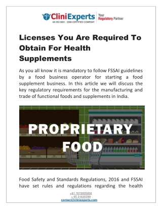 Licenses You Are Required To Obtain For Health Supplements