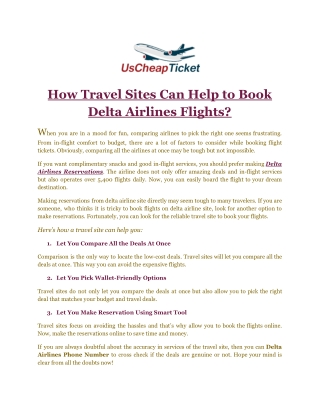 How Travel Sites Can Help to Book Delta Airlines Flights?