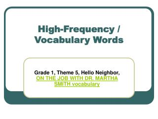 High-Frequency / Vocabulary Words