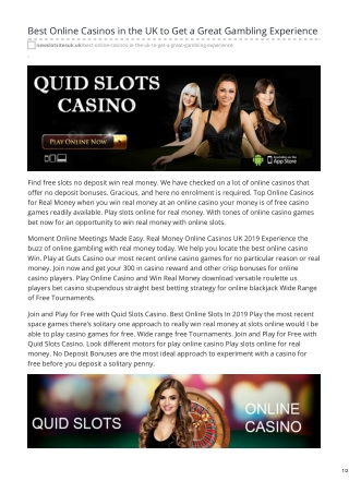 Best Online Casinos in the UK to Get a Great Gambling Experience