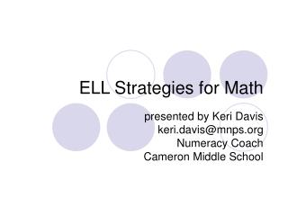 ELL Strategies for Math