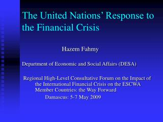The United Nations' Response to the Financial Crisis
