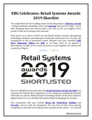 EBG Celebrates: Retail Systems Awards 2019 Shortlist | eBusiness Guru