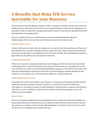 4 Benefits that Make IVR Service Inevitable for your Business