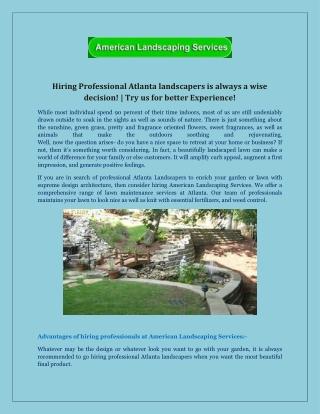 Atlanta's Best Landscape Design Solution Provider | Call Now