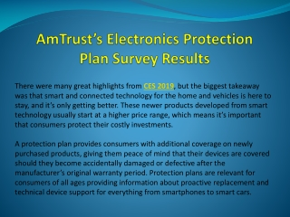 AmTrust's Electronics Protection Plan Survey Results