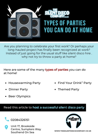 Types of parties you can do at home