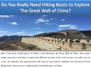 Do You Really Need Hiking Boots to Explore The Great Wall of China?