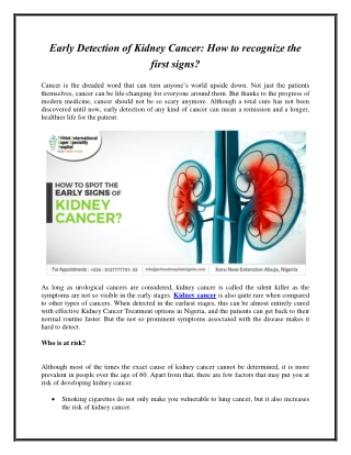 Early Detection of Kidney Cancer: How to recognize the first signs?