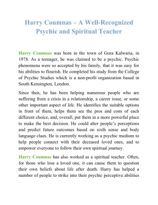 Harry Coumnas – A Well-Recognized Psychic and Spiritual Teacher