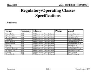 Regulatory/Operating Classes Specifications