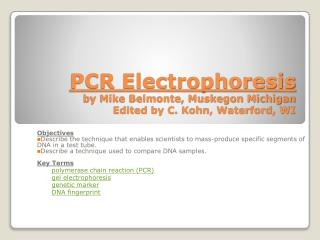 PCR Electrophoresis by Mike Belmonte, Muskegon Michigan Edited by C. Kohn, Waterford, WI