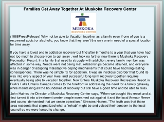 Families Get Away Together At Muskoka Recovery Center