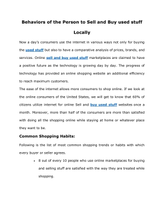 sell and buy used stuff locally
