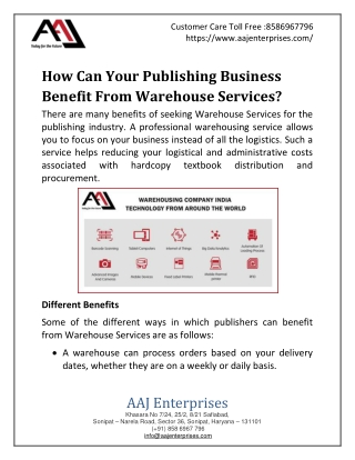 How Can Your Publishing Business Benefit From Warehouse Services?