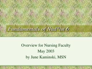 Fundamentals of Nud*ist 6
