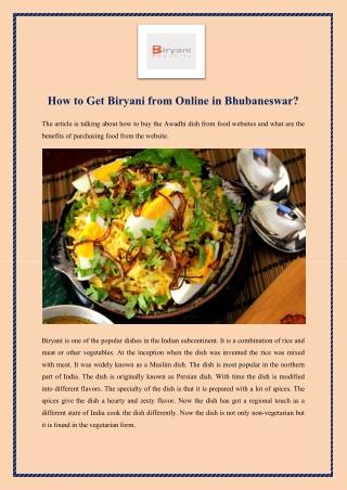 How to get Biryani from online in Bhubaneswar?