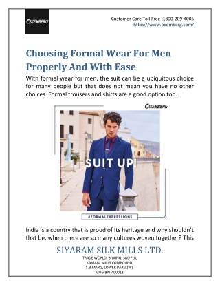 Choosing Formal Wear For Men Properly And With Ease