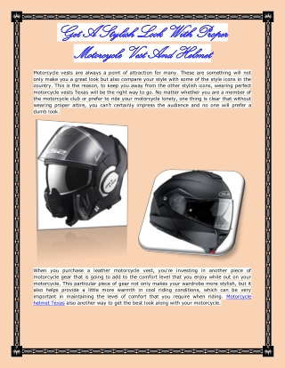 Get A Stylish Look With Proper Motorcycle Vest And Helmet