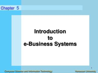 Introduction  to  e-Business Systems