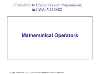 Mathematical Operators