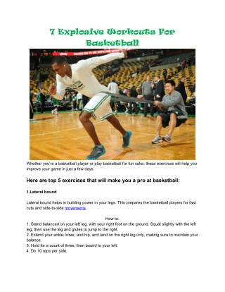 7 Explosive Workouts For Basketball